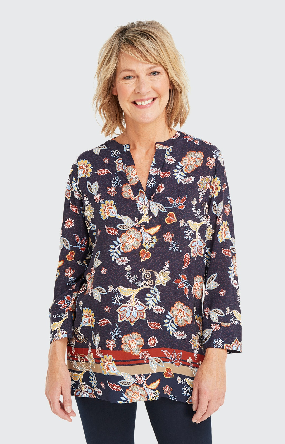 Shirtbluse mit Allover-Muster in Blau