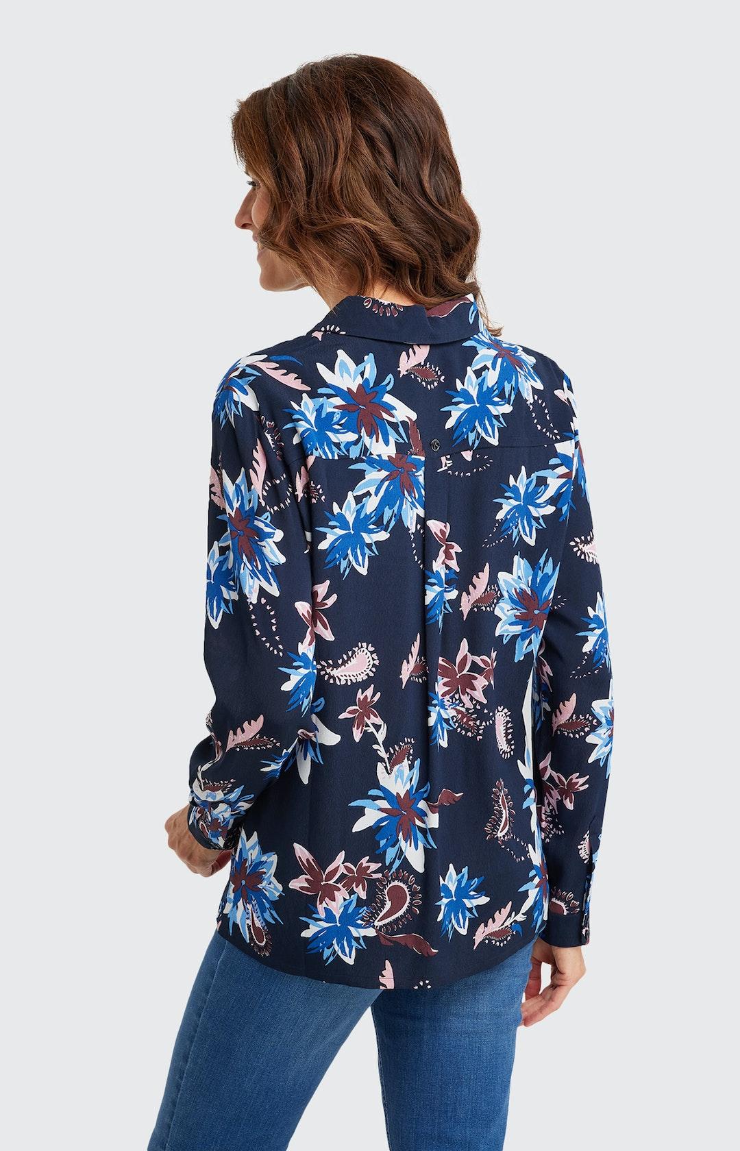 Bluse mit Allover-Muster in Dunkelblau