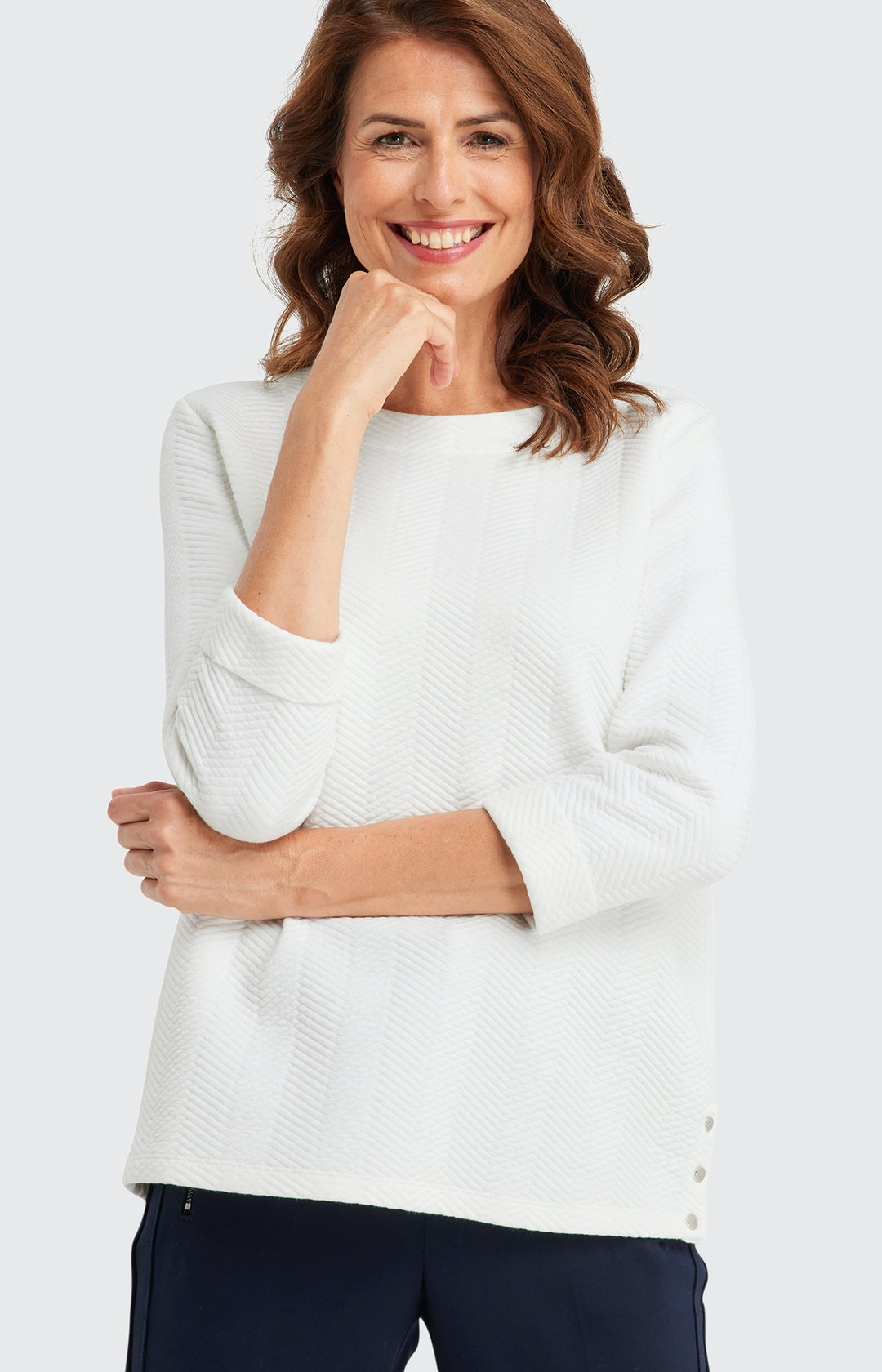 Sweatshirt mit  3/4-Ärmeln in Weiß