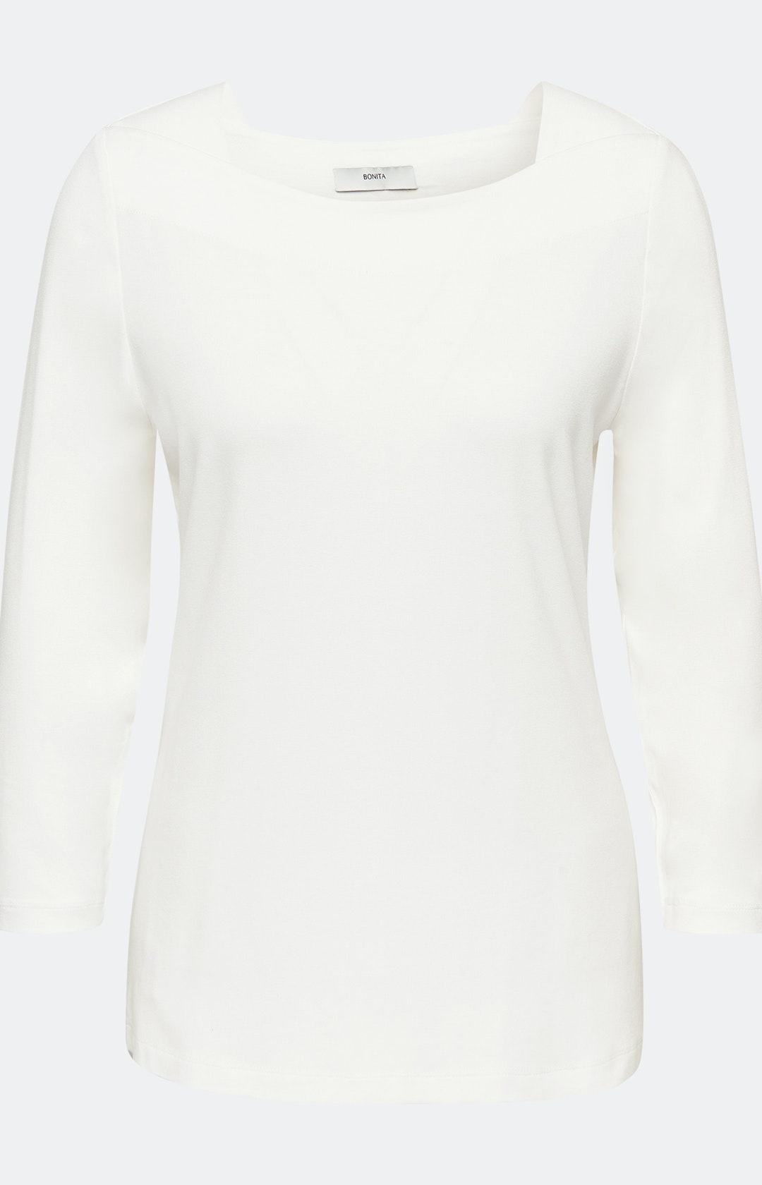 Shirt mit U-Boot-Ausschnitt in Weiß