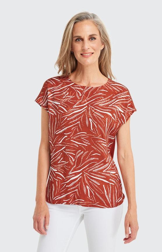 T-Shirt mit Animal-Print in Orange