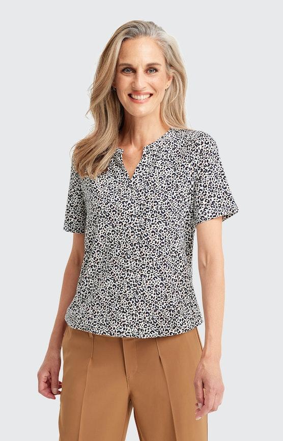 T-Shirt mit Animal-Print in Weiß
