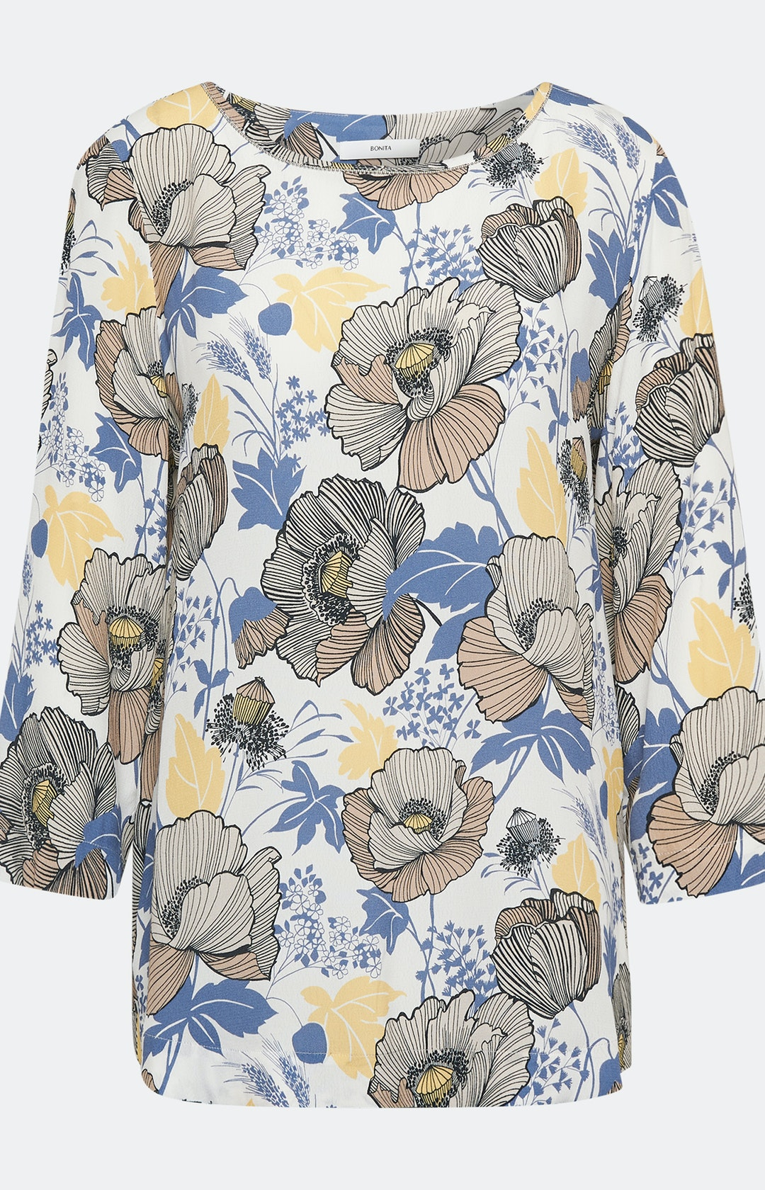 Shirtbluse mit floralem  Muster in Weiß