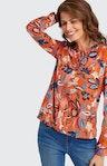 Shirtbluse mit Allover-Muster in Orange