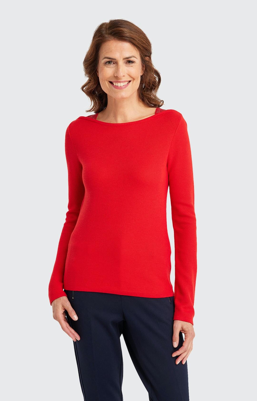 Pullover mit Strukturmuster in Rot