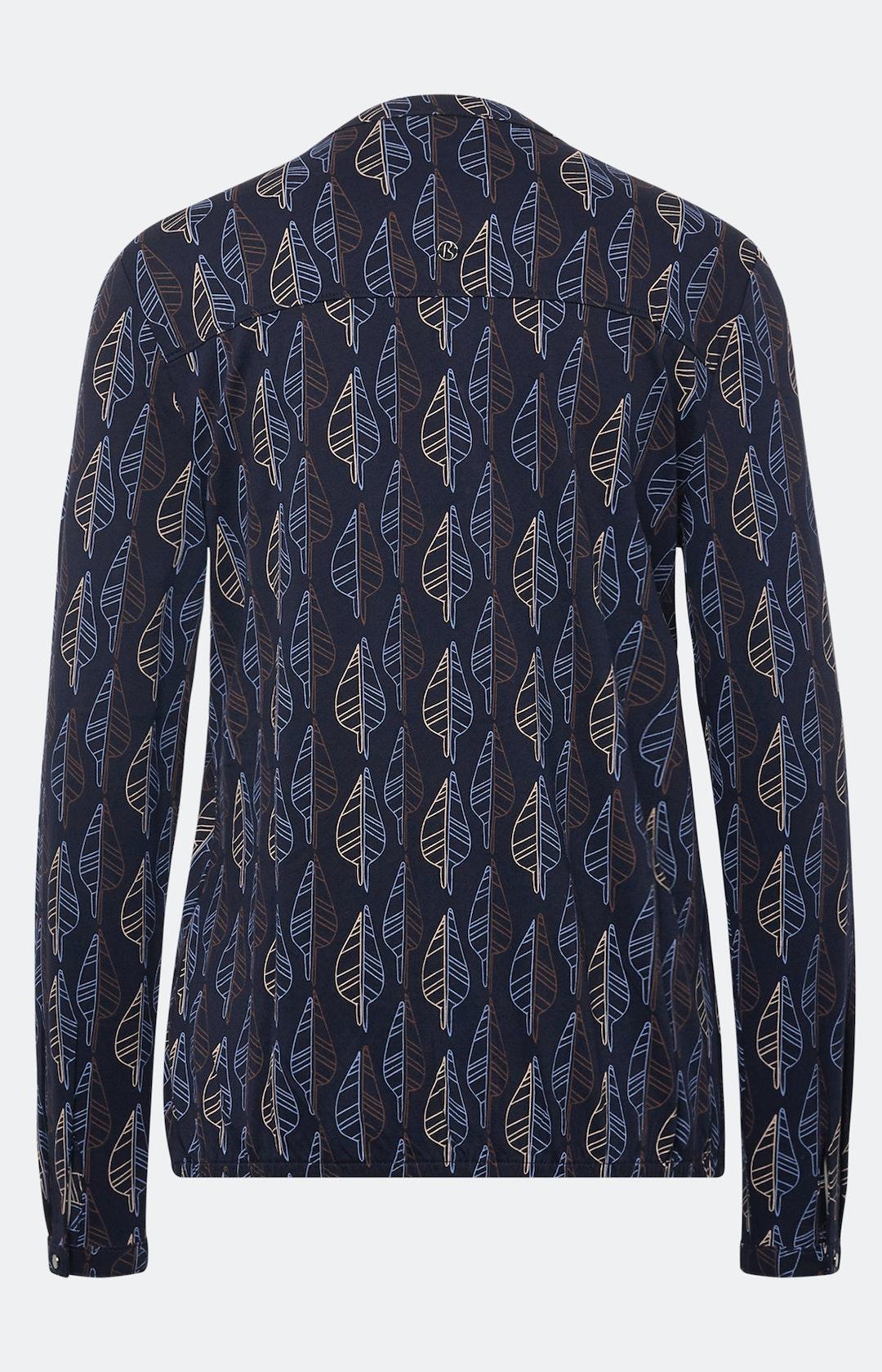 Shirt mit Allover-Muster in Dunkelblau