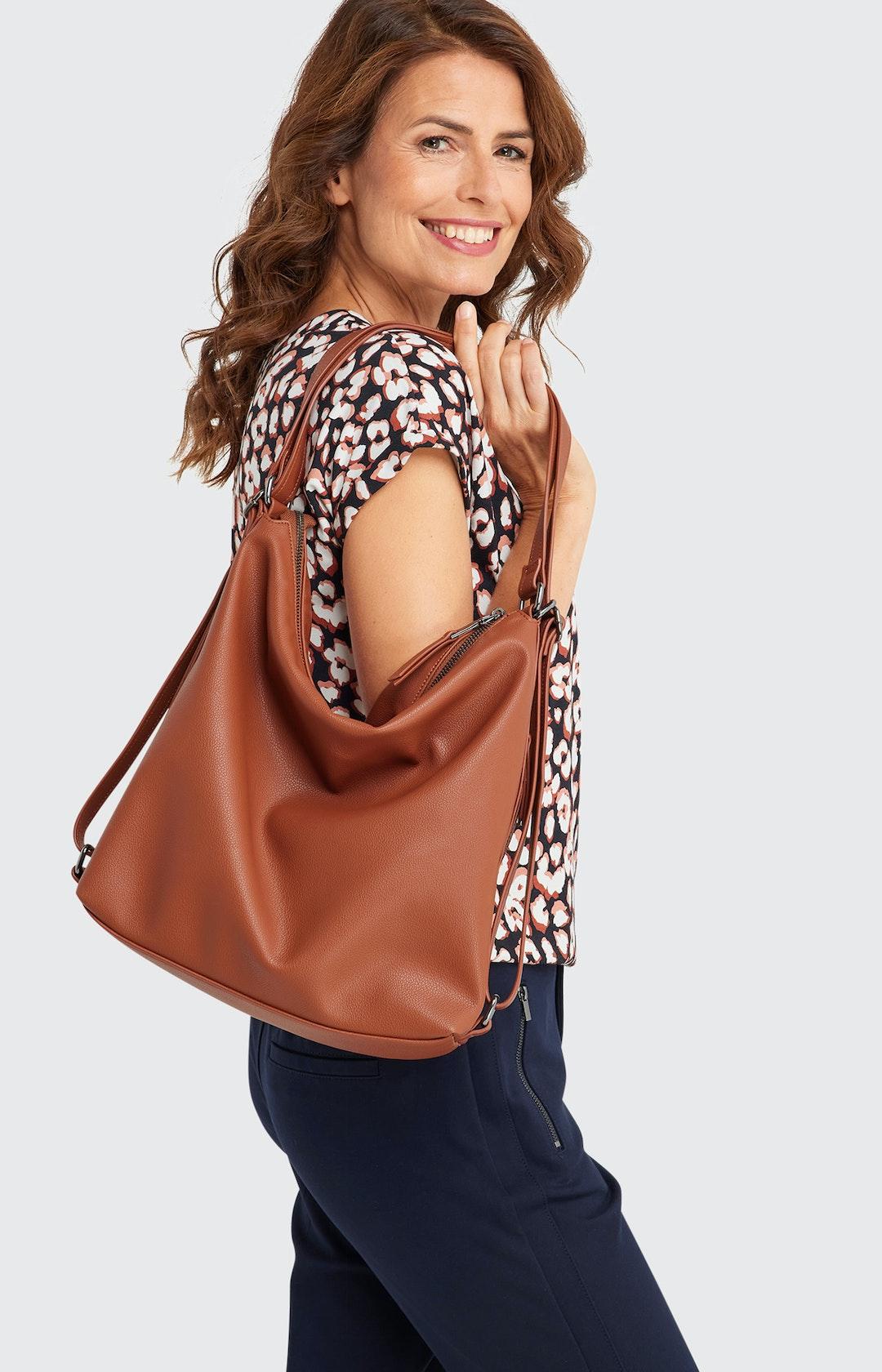 Handtasche mit Reißverschluss in Braun