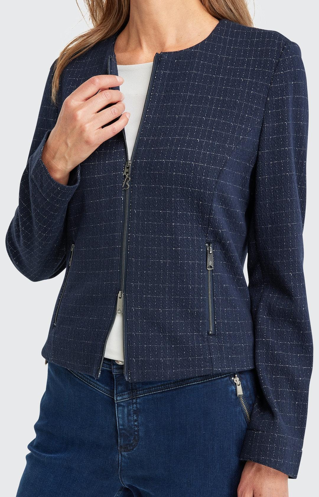 Blazer mit Karo-Muster in Blau