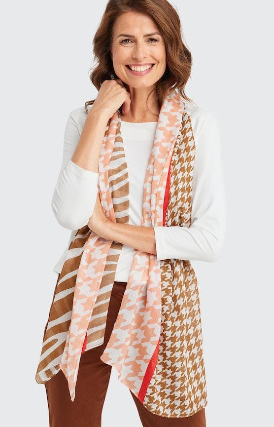 Schal mit Allover-Muster in Weiß