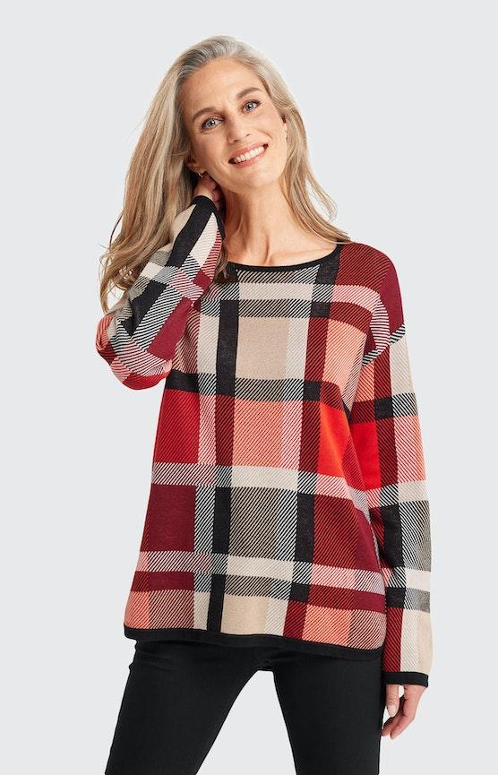 Pullover mit Karomuster in Rot