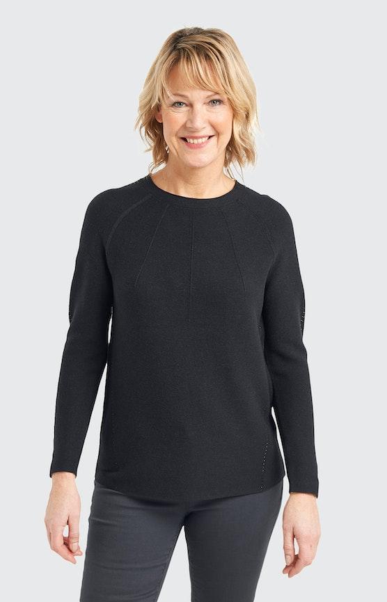 Pullover mit Strickmuster in Schwarz
